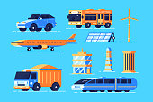 Urban transport set vector illustration. Collection consists of different kinds of transportation such as car bus air plane train flat style concept. Isolated on blue