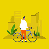 Urban transportation. Young caucasian male character standing with a bike. Healthy lifestyle. Flat editable vector illustration, clip art