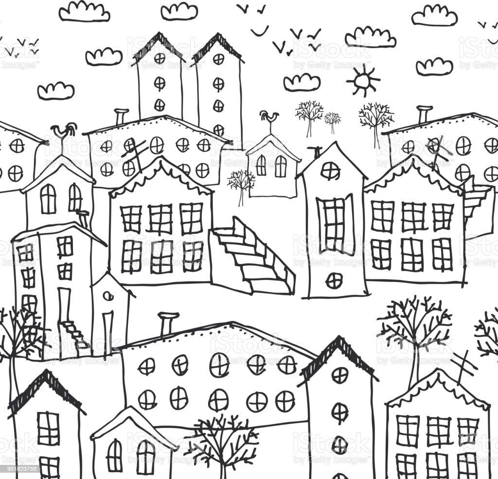 Ilustración De Invierno Urbano Paisaje De Patrones Sin Fisuras