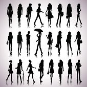 Set of female silhouettes in the city on abstract background