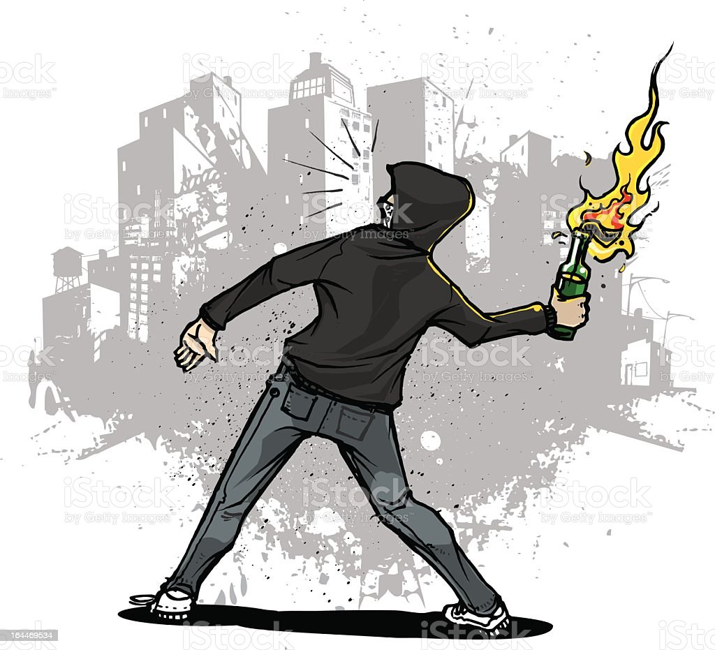 Urban youth throwing a Molotov cocktail vector art illustration