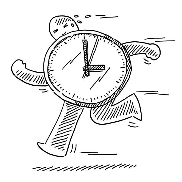 Urgency Time Concept Running Human Figure Drawing Hand-drawn vector drawing of a Urgency Time Concept with a Running Human Figure and a big clock. Black-and-White sketch on a transparent background (.eps-file). Included files are EPS (v10) and Hi-Res JPG. running stock illustrations