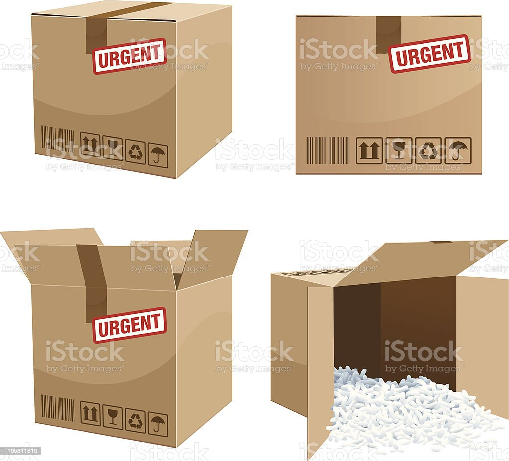 Urgent Parcel box delivery royalty-free stock vector art