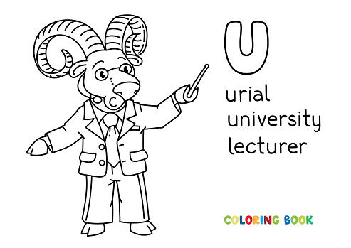 Urial or ram university lecturer ABC coloring book Alphabet U