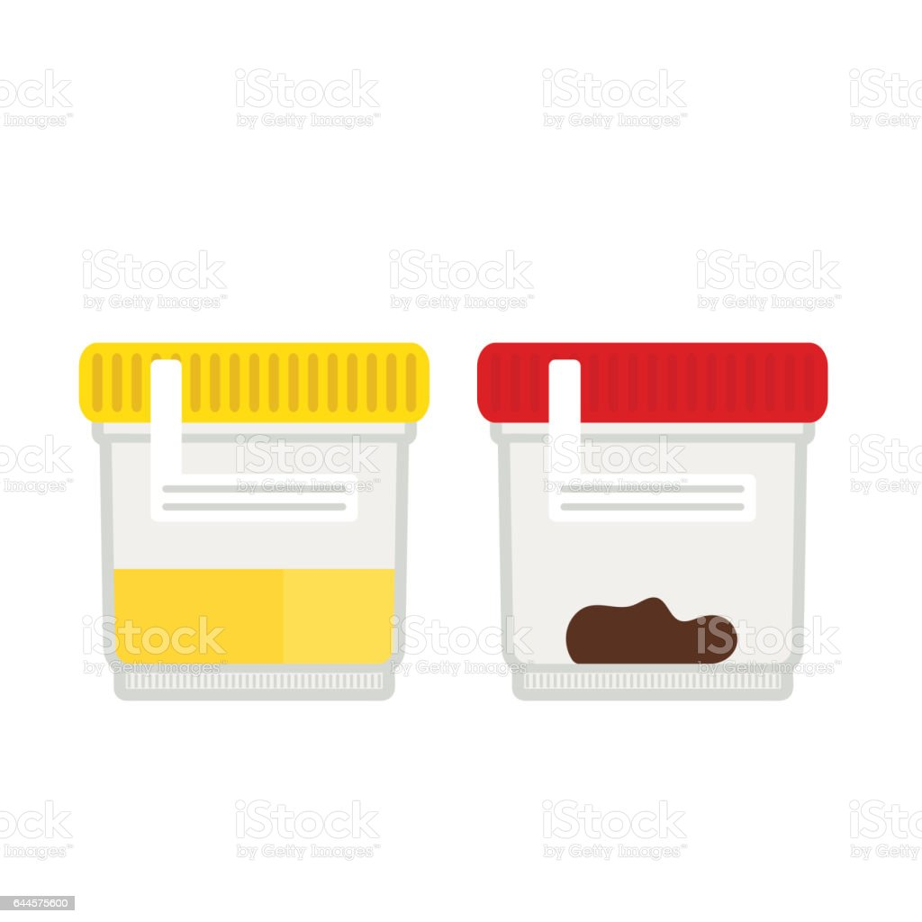 Urine and stool tests in plastic jars. vector art illustration