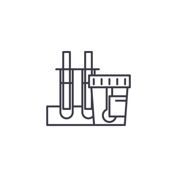 尿檢查線性圖示概念。尿檢查線向量符號, 符號, 插圖。向量藝術插圖