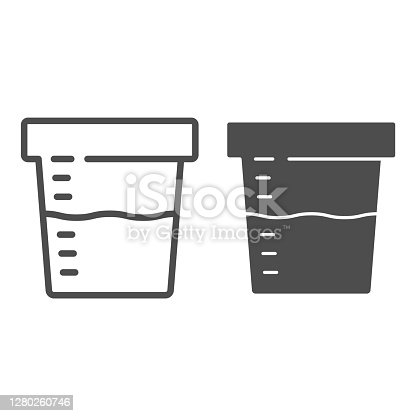 istock Urine sample for analysis line and solid icon, Medical tests concept, sampling container sign on white background, Urine test in plastic jar icon in outline style for mobile and web. Vector graphics. 1280260746