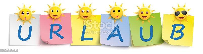 istock Urlaub Colored Sticks Pins Header Sun Smileys 1162318212