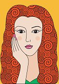 Decorative graphic portrait of girl with red curly hair