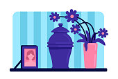 Urn with ashes flat color vector illustration. Funeral tradition. Dead woman portrait and flowers on table. Home living room 2D cartoon interior with deceased female picture on background