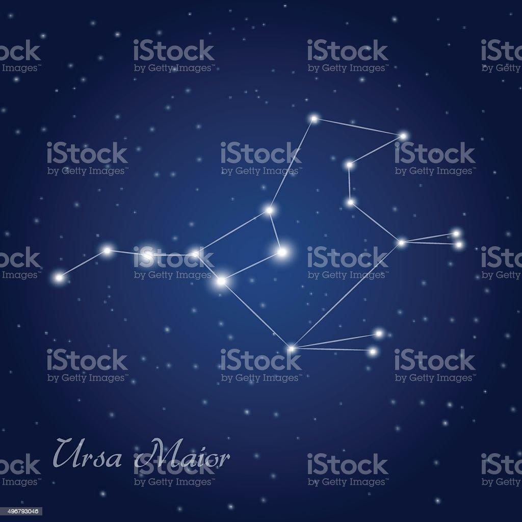 Ursa maior constellation vector art illustration