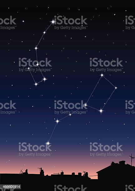 Ursa Major and Ursa Minor Constellations Vector Illustration. EPS10, Ai10, PDF, High-Res JPEG included. 2015 stock vector