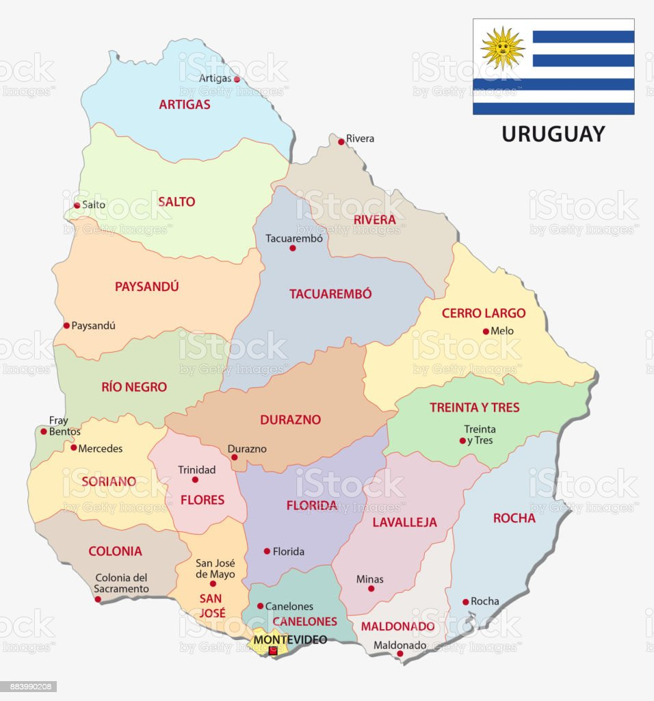 Uruguay Administrative And Political Map With Flag Stock Vector Art