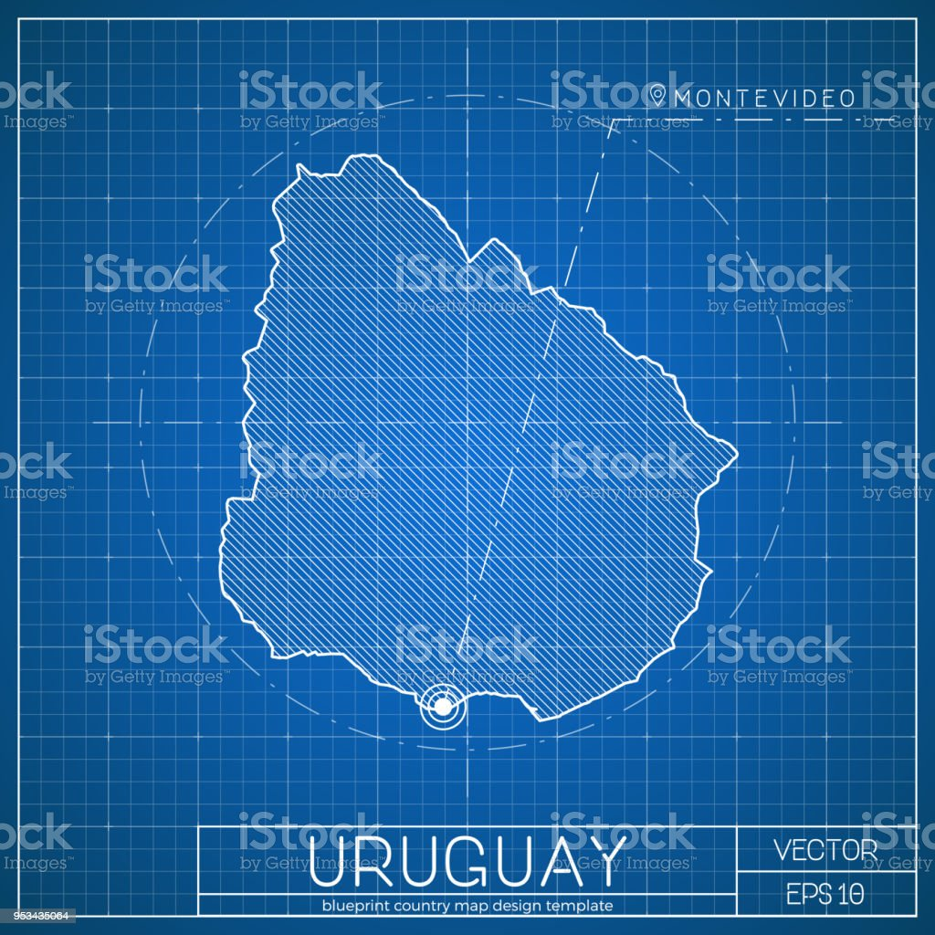 Uruguay blueprint map template with capital city stock vector art uruguay blueprint map template with capital city royalty free uruguay blueprint map template with malvernweather Images