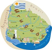 Uruguay. Cartoon map of Uruguay. Vector illustration with all main symbols of the country.