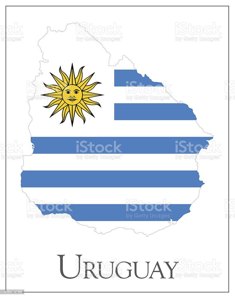 Mapa bandera de Uruguay - ilustración de arte vectorial
