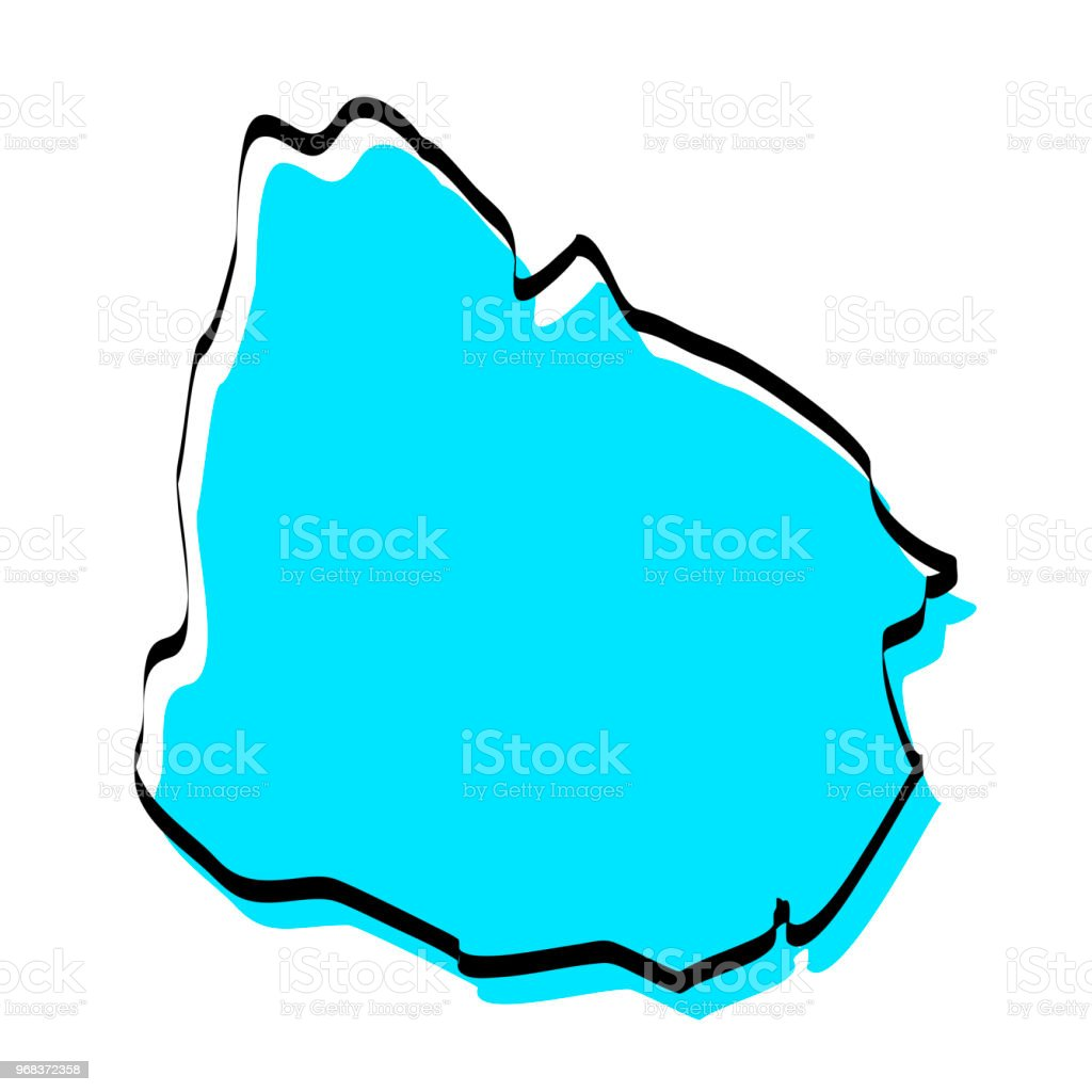 Uruguay Map Hand Drawn On White Background Trendy Design Stock ...