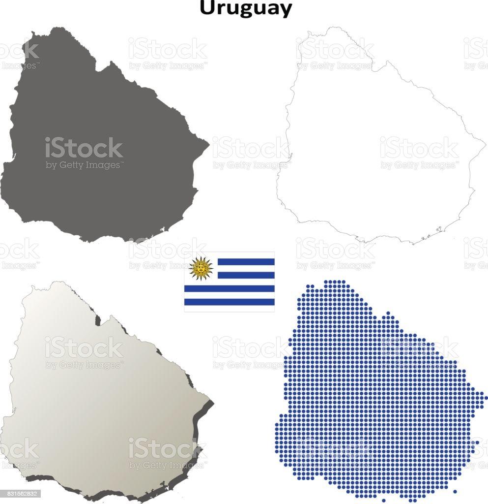 Uruguay Outline Map Set Stock Vector Art IStock - Uruguay blank map