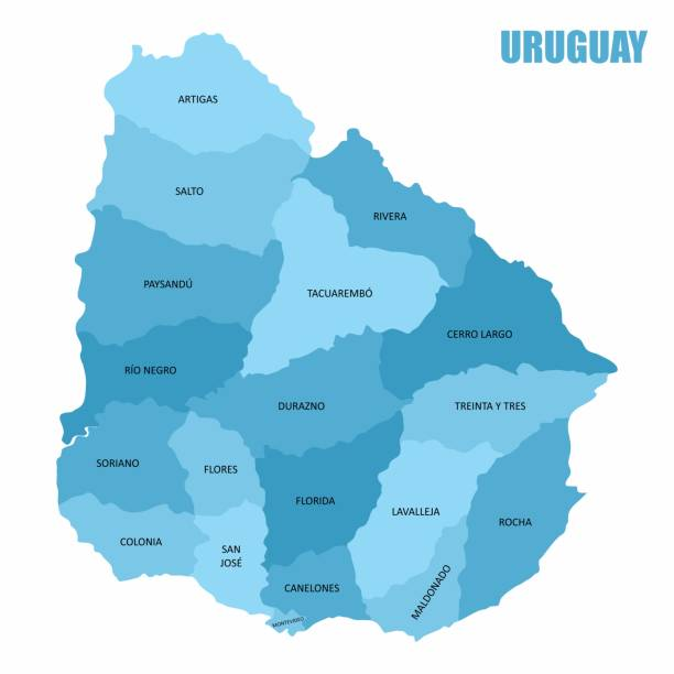 Uruguay regions map The Uruguay regions map with labels isolated on white background canelones stock illustrations