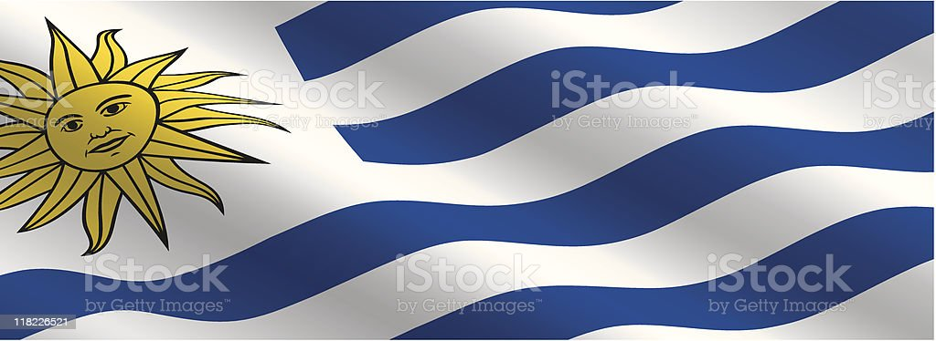Uruguayan Flag Flying in the Wind royalty-free stock vector art