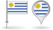 Uruguayan pin icon and map pointer flag. Vector illustration.