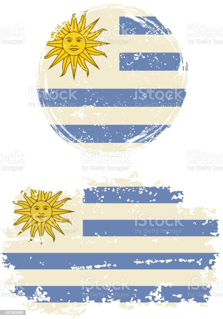 Uruguayo redonda y cuadrada de Banderas grunge. Ilustración vectorial - ilustración de arte vectorial