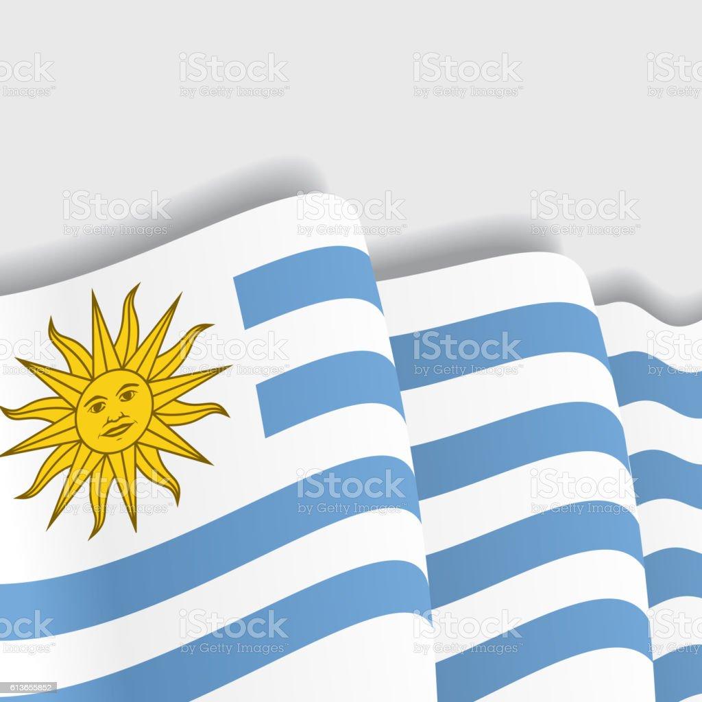 Uruguayan waving Flag. Vector illustration. - ilustración de arte vectorial