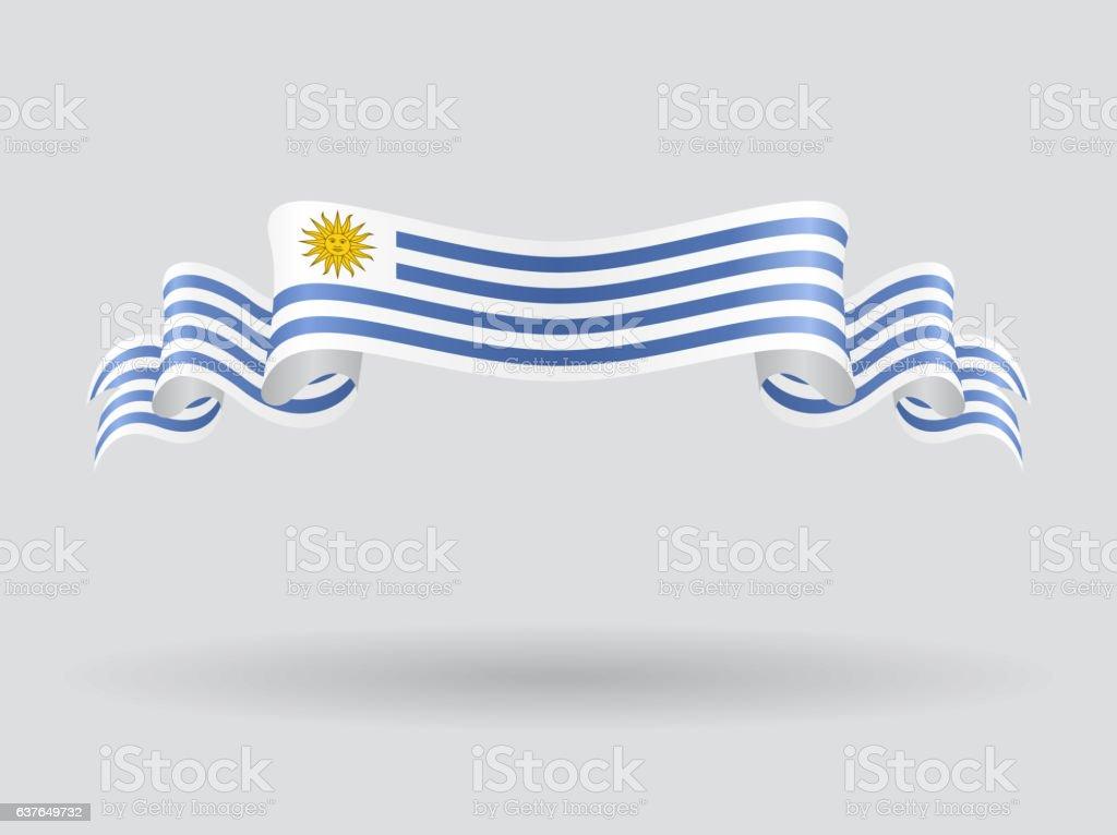 Uruguayo wavy bandera. Ilustración de vectores. - ilustración de arte vectorial