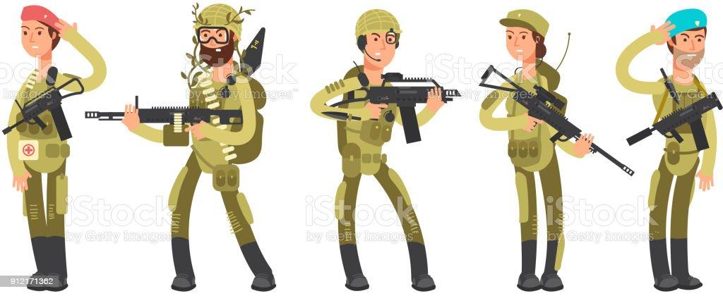 私たちは制服を着た軍隊漫画男と女兵士軍事概念ベクトル図 アイコンの