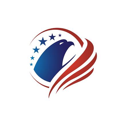 us flag american eagle head logo vector design concept illustrations