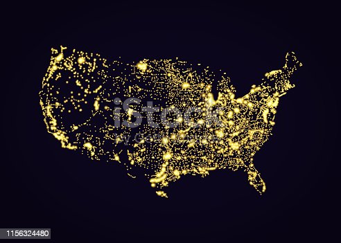 Usa map night light effect in vector format