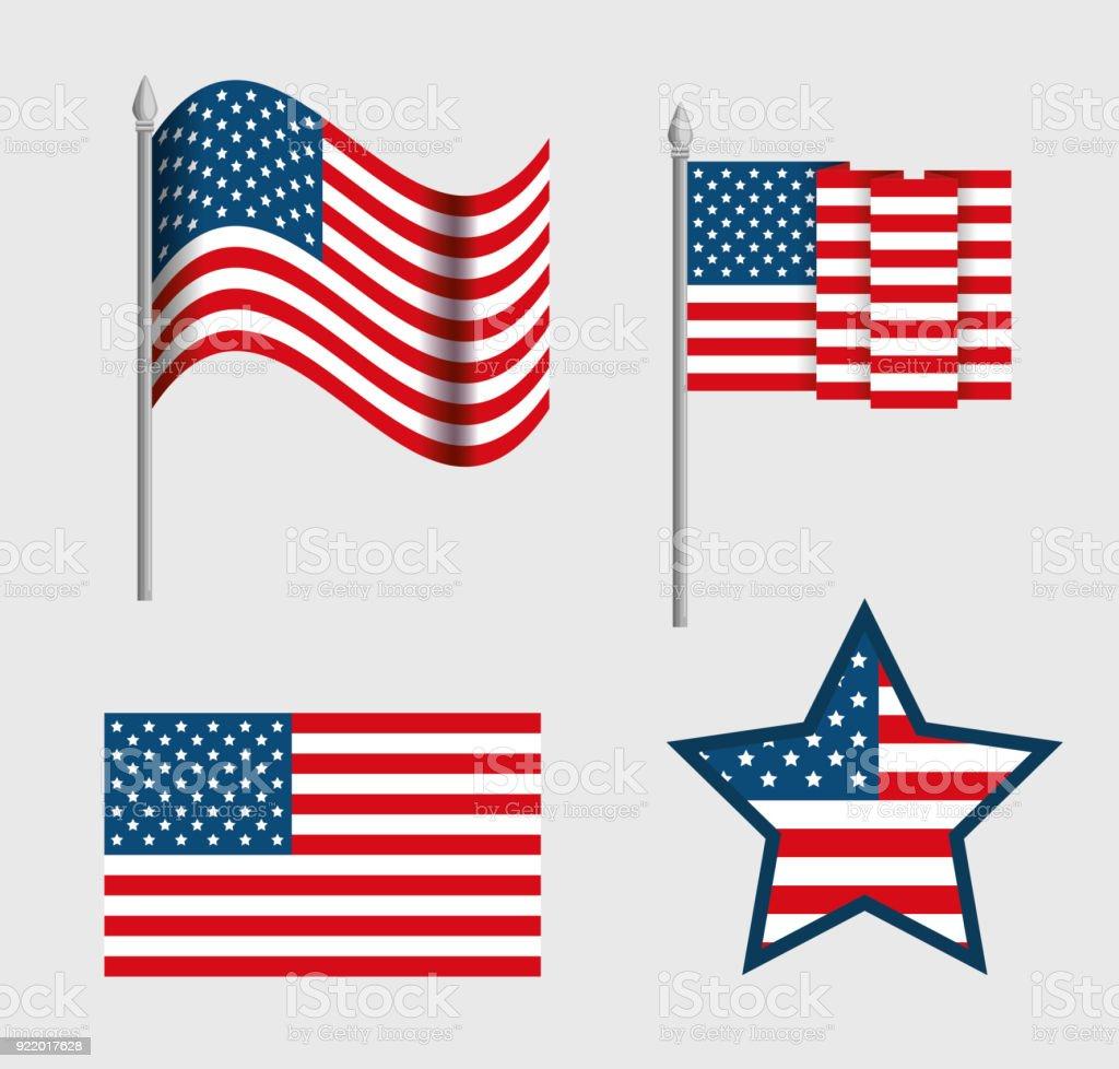 Usa Emblems Set Patriotic Symbol Stock Vector Art More Images Of