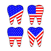 Usa flags pattern in tooth shape.