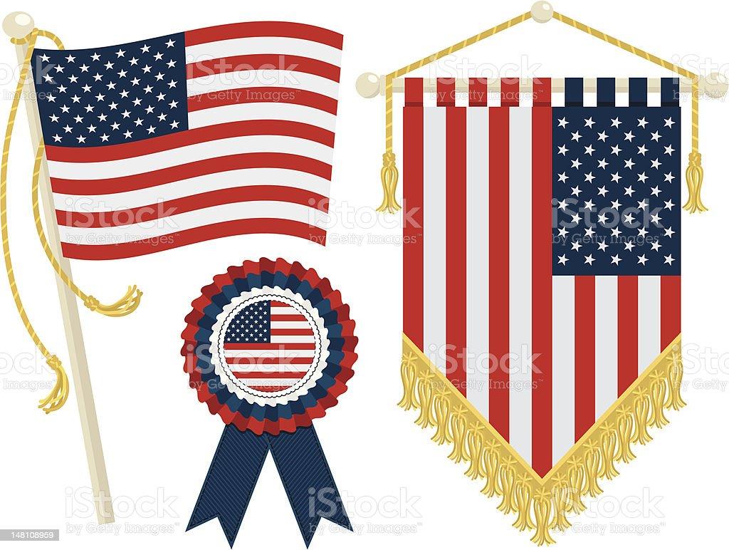usa flags vector art illustration