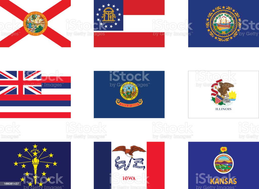 Usa flags-part 2 royalty-free stock vector art