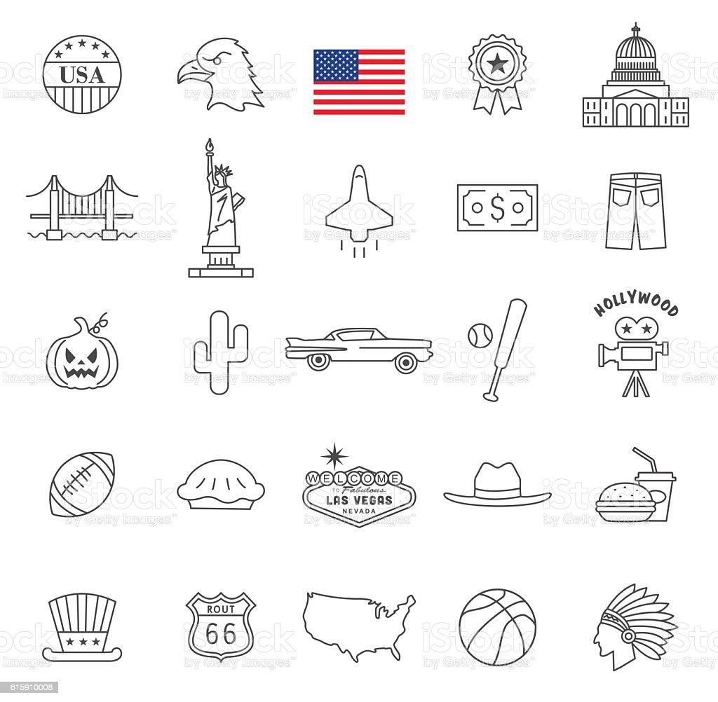 Usa icon set vector art illustration