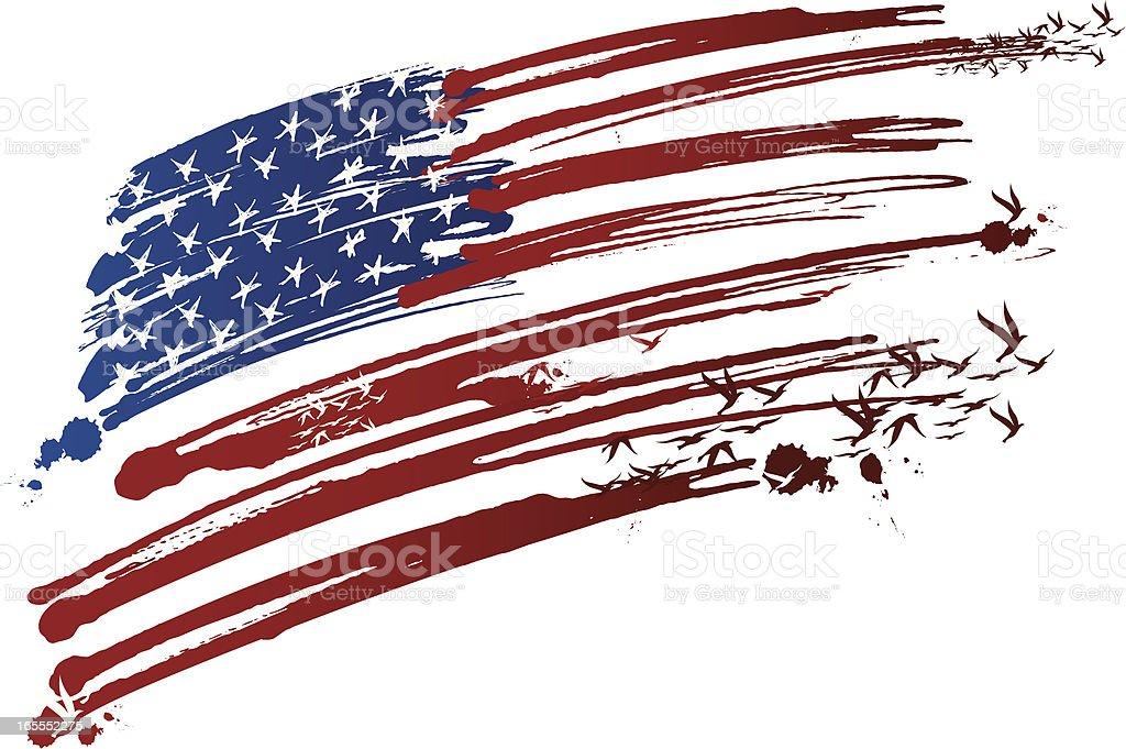 usa ink made flag vector art illustration