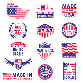 Usa labels. Flag made america american states flags label badge stamp star patriot stripe ribbon emblem sticker banner, vector icons