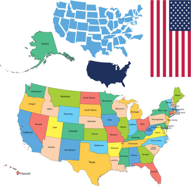 Usa Map With Alaska And Hawaii Clip Art Vector Images - Usa map with all states