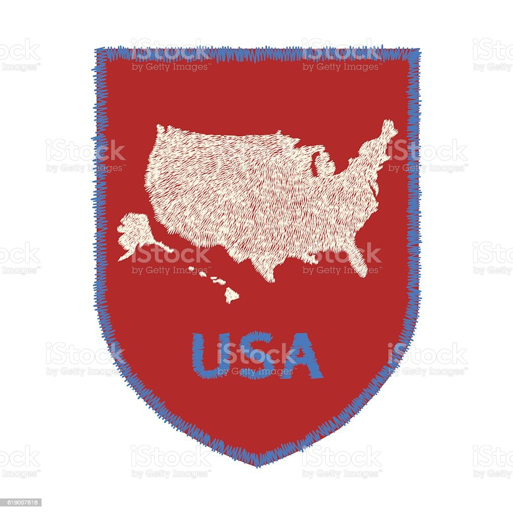 Usa Map Design For Clothing Embroidery Patch For Fashion Crest - Usa map design