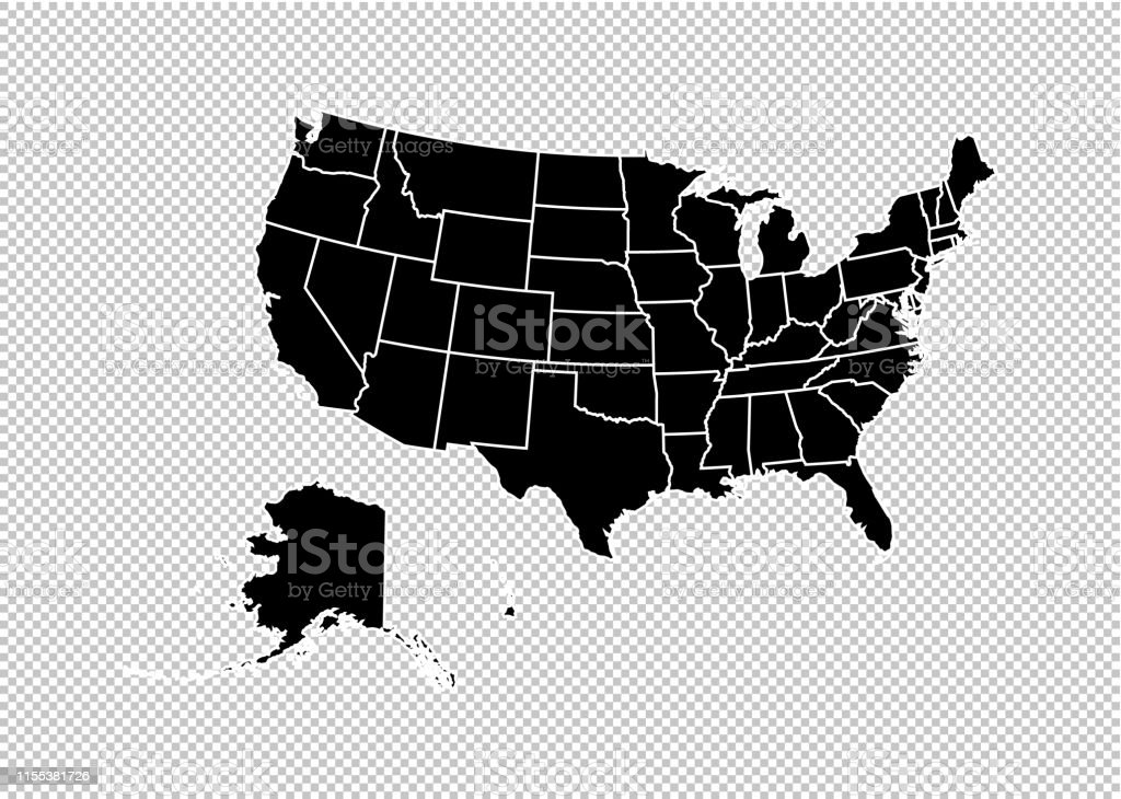 Usa Maphigh Detailed Black Map With Countiesregionsstates Of ...