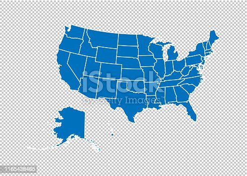 usa map - High detailed blue map with counties/regions/states of usa. usa map isolated on transparent background.