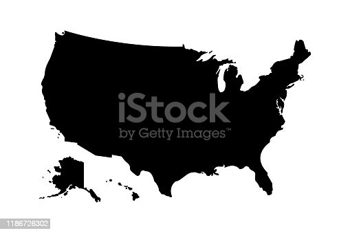istock Usa map icon high detailed isolated vector illustration. Abstract concept graphic element. United States of America isolated. 1186726302