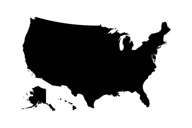 미국지도 아이콘 높은 상세한 고립 벡터 일러스트레이션. 추상 개념 그래픽 요소입니다. 미국은 고립. - 미국 stock illustrations
