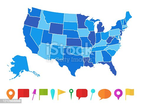 Usa map. Infographic us country map with multi-colored states and pins, topographic info outline road, travel poster vector illustration