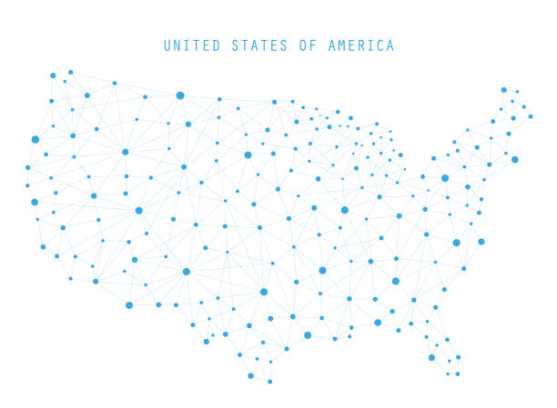 Best Us Map Network Illustrations, Royalty-Free Vector ...