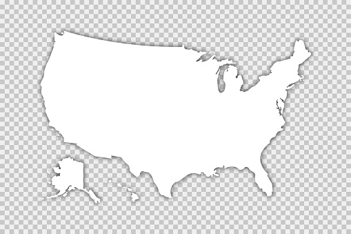 Usa map vector isolated illustration with shadow on transparent background. Web banner for concept design. United states map. Usa silhouette. EPS 10