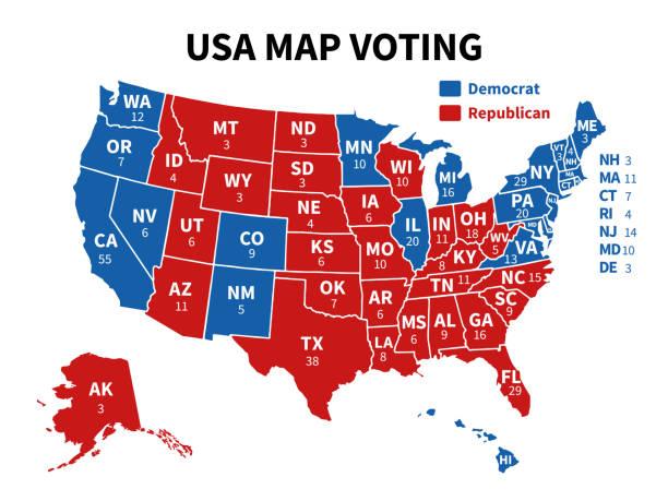 abd harita oylama. cumhurbaşkanlığı seçim haritası her devlet amerikan seçim oycumhuriyetçiler veya demokratlar siyasi vektör infografik gösteren - başkanlık seçimleri stock illustrations