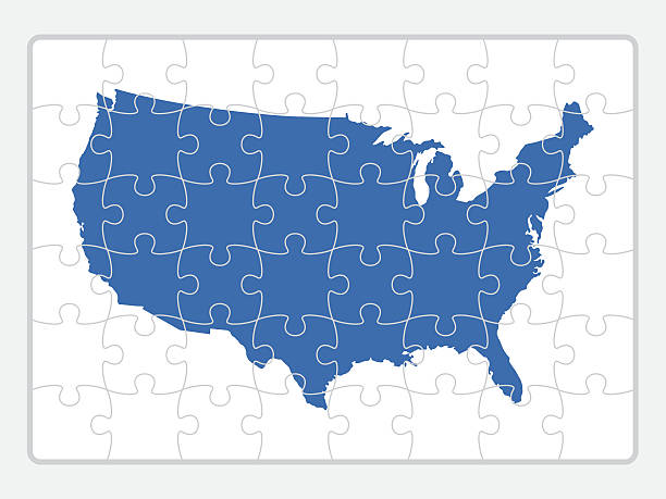 Royalty Free United States Map Puzzle Clip Art Vector Images