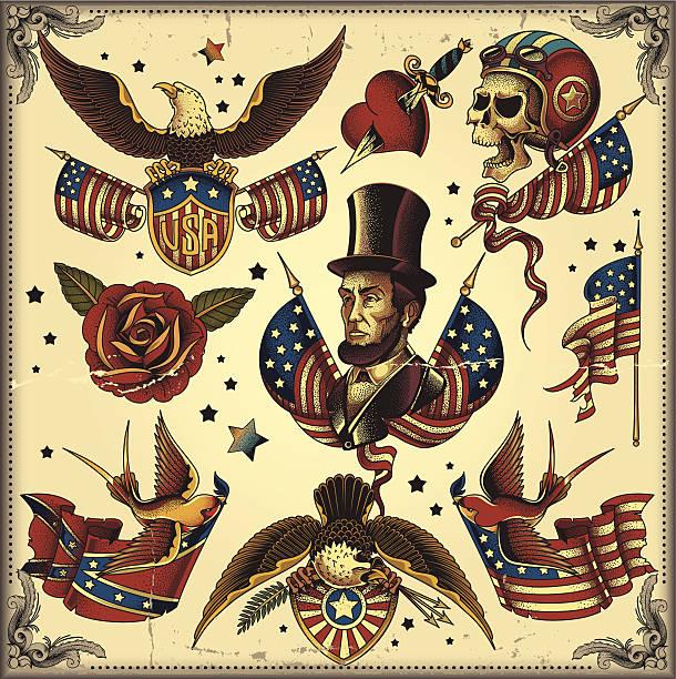 illustrations, cliparts, dessins animés et icônes de tatouage flash états-unis - tatouages de bannières